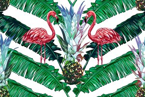 Pink flamingos, palm leaves pattern