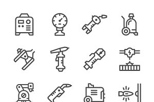 Set line icons of welding