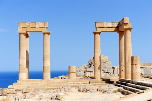Ruins of ancient temple. Lindos