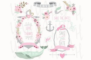 Pink Grey Nautical Wedding Elements