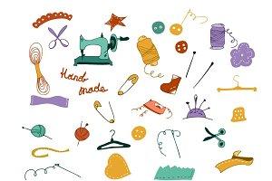 Hand drawn sewing kit