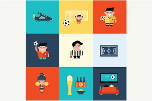 Vector football soccer icons