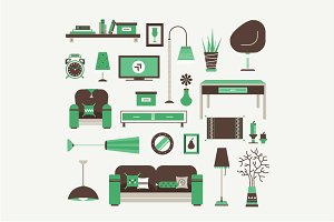 Vector living room icons