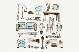 Vector doodle living room