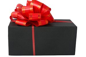 Black box with a red bow