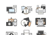 Electronics. 9 color icons. Vector