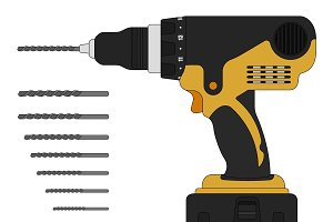 Electric drill and bits. Vector