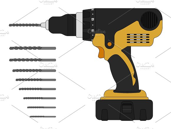 Electric drill and bits. Vector - Illustrations