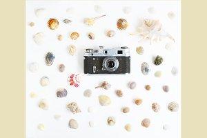 Retro camera with seashells