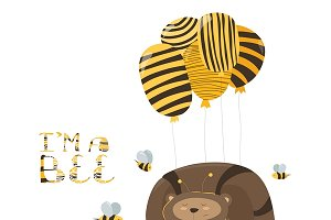 Funny bear flying on a balloon