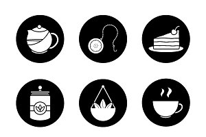 Tea. 9 icons set. Vector