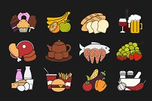 Food. 12 color icons set. Vector