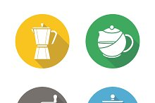 Coffee and tea. 4 icons. Vector
