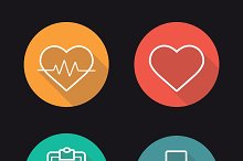 Cardiology. 4 icons. Vector