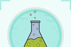 Chemical reaction color icon. Vector