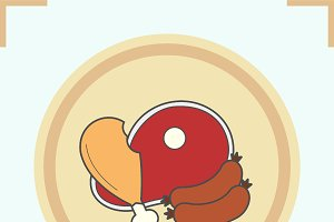 Meat products color icon. Vector