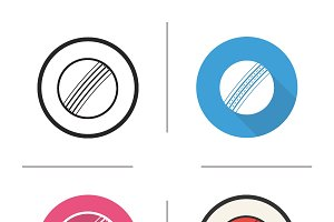 Cricket ball. 4 icons. Vector