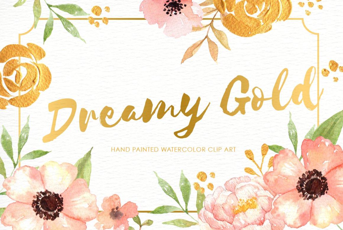 Dreamy Gold Flower Clipart Illustrations Creative Market