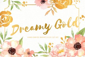 Dreamy Gold Flower Clipart