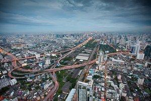 Air view of Bangkok city at night