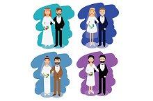 Wedding pairs. happy couples. vector