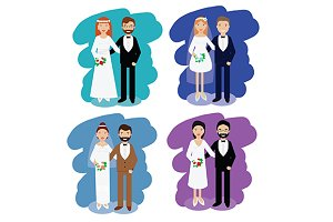 Wedding pairs. happy couples. vector