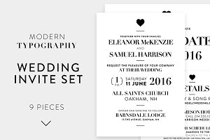 Modern Typography Wedding Invite Set