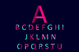 Flat font pink and neon blue, vector