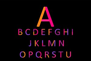 Flat font neon orange and pink