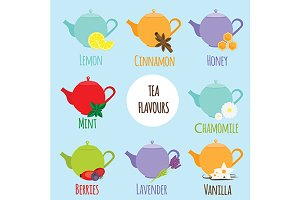 Tea flavours and tatses types.vector