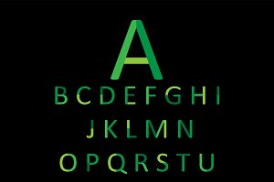 Flat fonts green color, vector