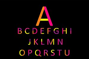 Flat font yellow and pink, vector