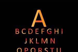 Flat font orange color, vector