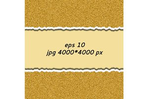 Gold glittering torn paper. vector.