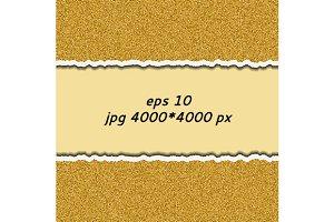 Gold glittering torn paper. vector.