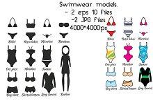 Swimsuits, swimwear models. vector