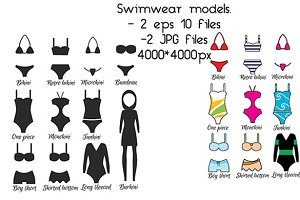 Swimsuits, swimwear models. vector