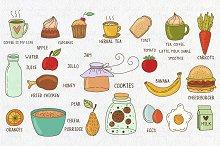 Set of breakfast/lunch doodles