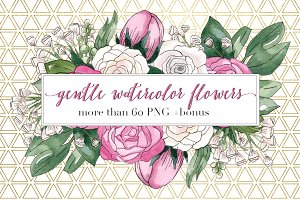 Gentle Watercolor Flowers