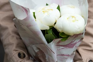 Beautiful White Peonies Bouquet