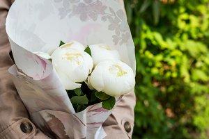 Beautiful White Peonies Bouquet