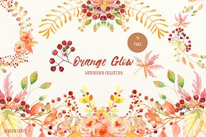 Watercolor Collection Orange Glow