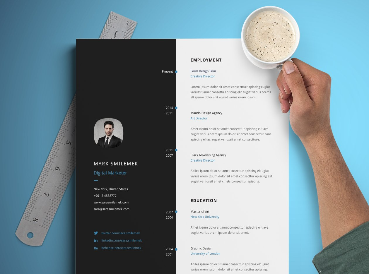 vertical resume template resume templates creative market - Best Free Resume Templates
