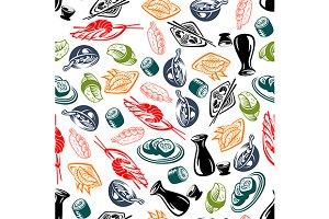Oriental seafood dishes pattern