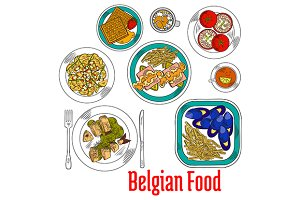 Native dishes of belgian cuisine