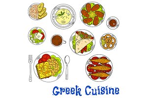 Greek cuisine sketches