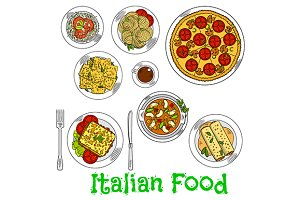 Italian cuisine dishes sketches