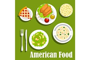 American cuisine dishes, flat style