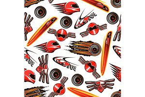 Motorsport seamless pattern