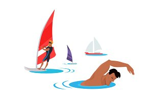 Swimming And Windsurfing